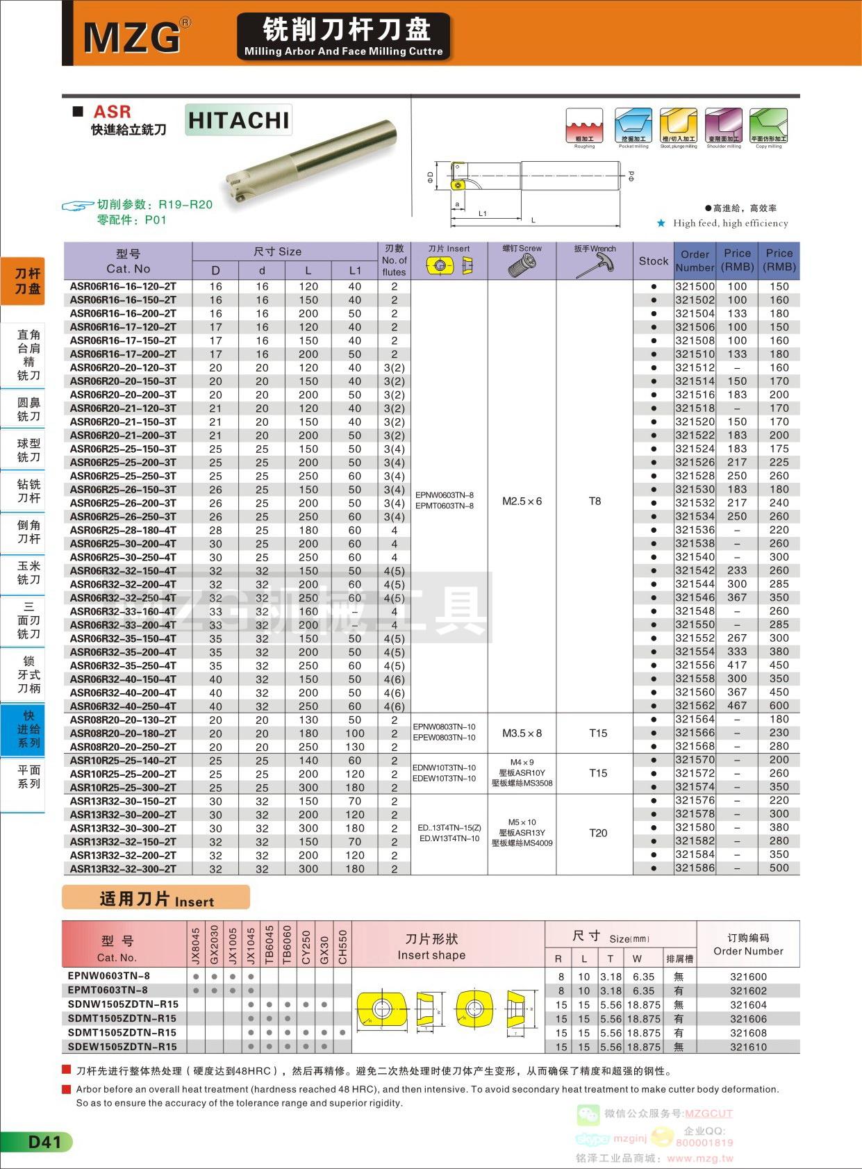 MZG品牌2015D41MZG铣削刀杆,ASR快进给立铣刀杆,装EPNW06,EPMT06,EPNW08,EPEW08,EDNW10,EDEW10,EDNW13,EDEW13日立快进给刀片